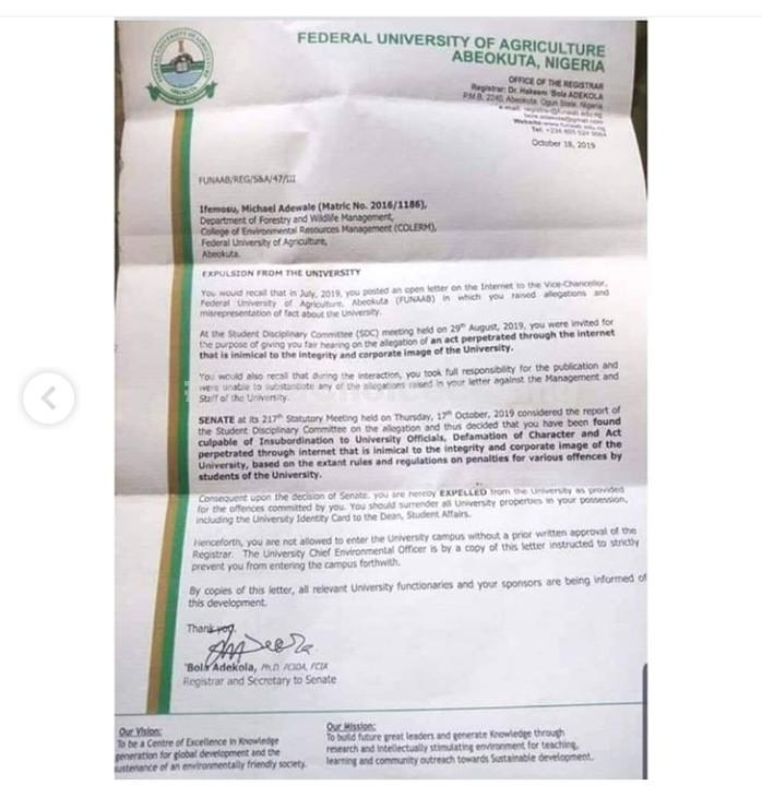 FUNAAB Expels Student For Writing Open Letter To VC On Facebook