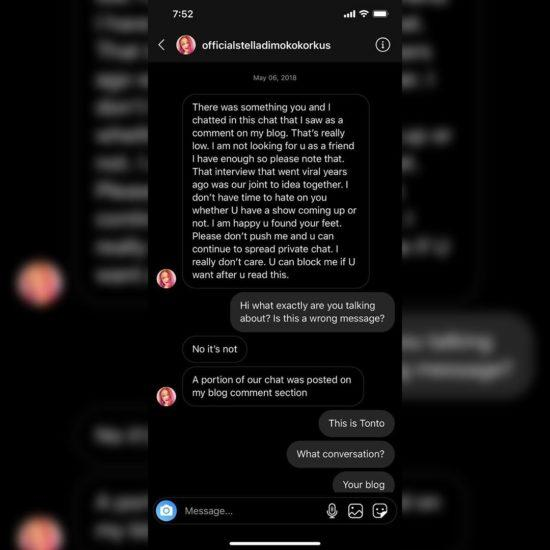 Tonto Dikeh leaks her private chats with blogger, Stella Dimoko Korkus