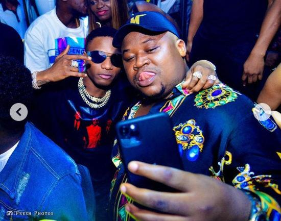 Wizkid pictured with Cubana Chief Priest at the opening of Cubana night club in Ikeja