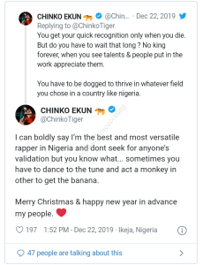 Chinko Ekun brags about being the best and most versatile rapper in Nigeria