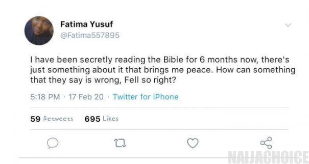 'I Hide To Read The Bible And It Brings Me Peace' - Muslim Girl Confesses