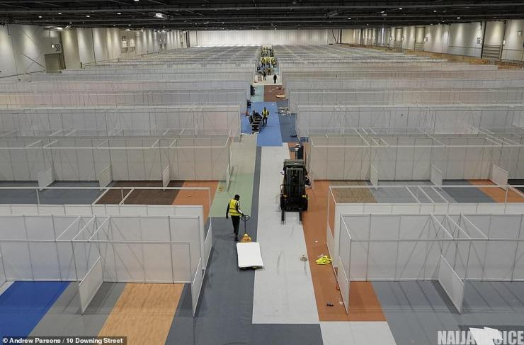 Inside UK's First Coronavirus Mega Hospital With 4,000 Beds And Cubicle (Pics)