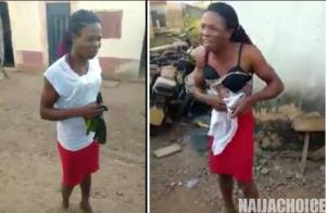 Chaos As Nigerian Man Who Has Been Working As A Female Househelp Is Forced To Remove His Clothes After Being Caught (Video)