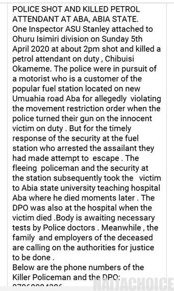 Lockdown: Policeman Kills Fuel Attendant In Abia (Disturbing Photo)