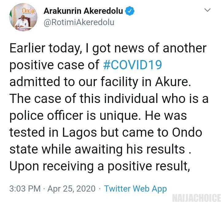 Policeman Tests Positive For Coronavirus In Lagos, Sneaks Into Ondo State