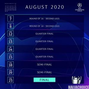 Champions League To Resume August 7  (Checkout Calendar)