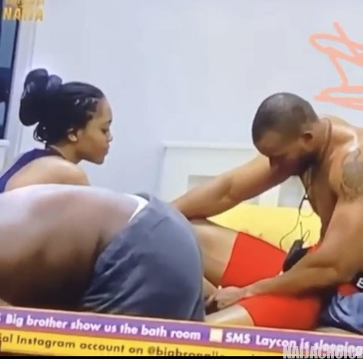 BBNaija 2020: Lilo Caught On Camera Trying To Size Up Eric's Joystick With Her Leg