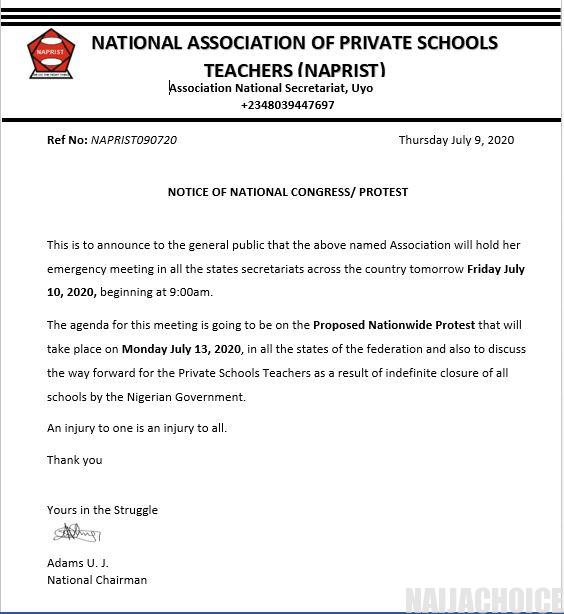 National Association Of Private Schools Teachers To Protest On Monday