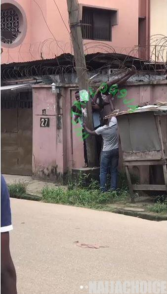 Shocking! Electrician Gets Electrocuted While Working On A Pole In Lagos (Video)