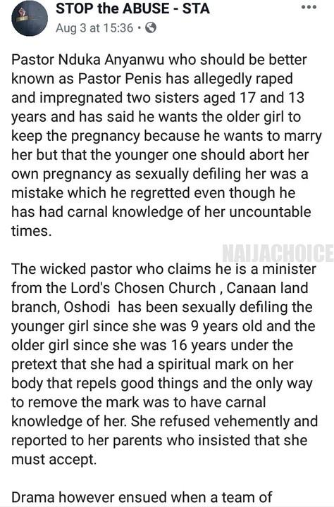 Lord's Chosen Pastor Impregnates 2 Underaged Sisters, Aged 13 & 17 (Photos)