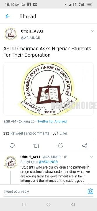 Strike: ASUU Chairman Asks Nigerian Students  For Their Cooperation