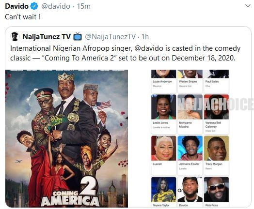 Davido Confirms Role In 'Coming To America 2'
