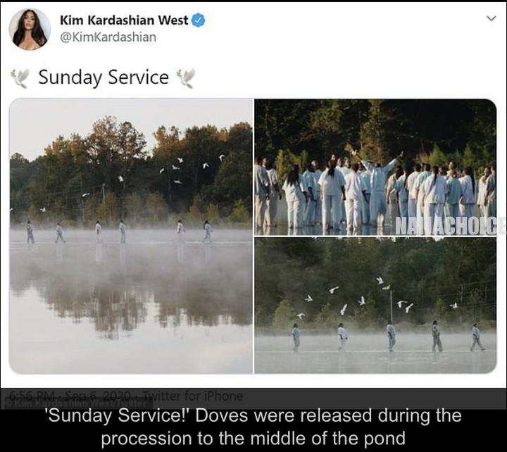 Kanye West 'Walks On Water' With His Kids As He Makes Entrance To Sunday Service (Photos)