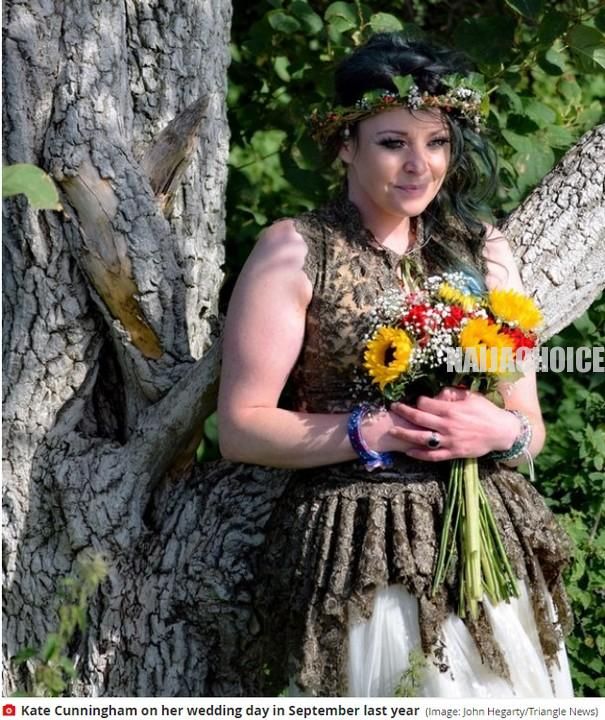 Mum Of 2 Who Married A Tree Celebrates First Wedding Anniversary In England (Pics)