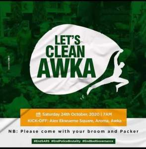 EndSARS: Anambra Youths Hold Clean Up Exercise In Awka (Photos)