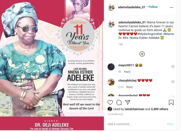 Senator Adeleke Remembers His Late Mum, Nnena Esther , 11 Years After Death (Pix)