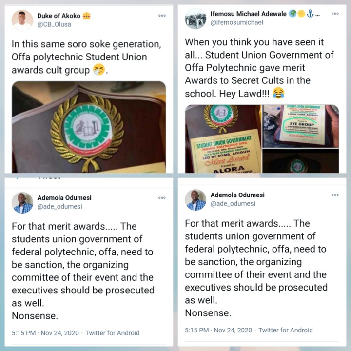 SUG Of Federal Polytechnic Offa Presents Awards To Cult Groups (Photos)