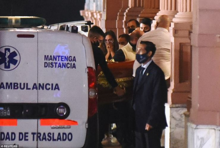 Tears Flows As Diego Maradona's Coffin Arrives Alberto Fernández Mansion To Lie In State (Photos)