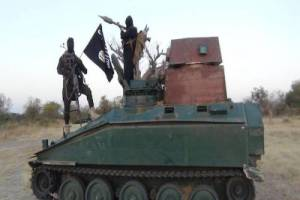 Boko Haram Displays Armed Personnel Carrier Captured From Nigerian Soldiers