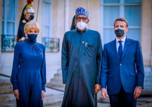 President Buhari Received By French President, Macron In Elysee Palace (Photos)
