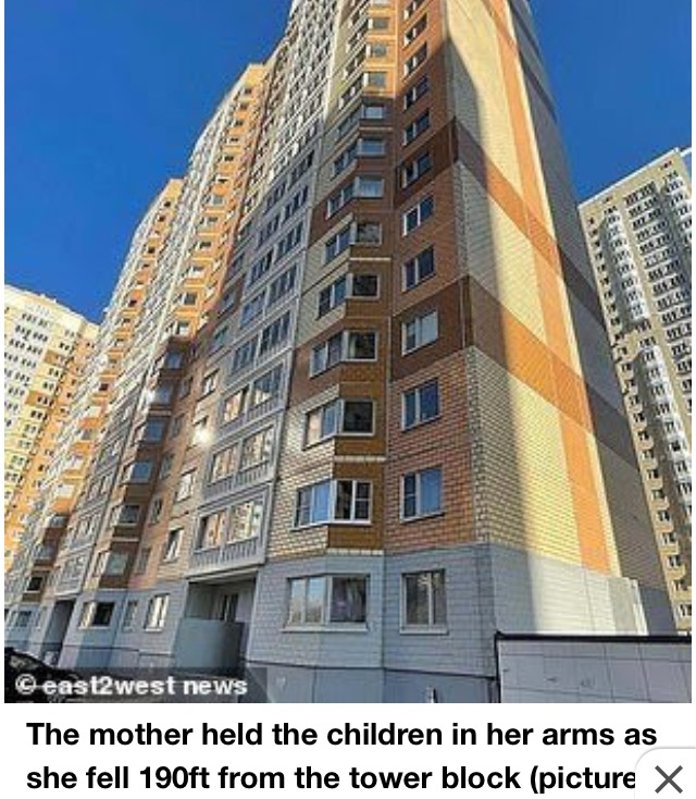 Russian Mum Kills Baby & Son Jumping 190ft To Her Death With Kids In Her Arms (Pix)