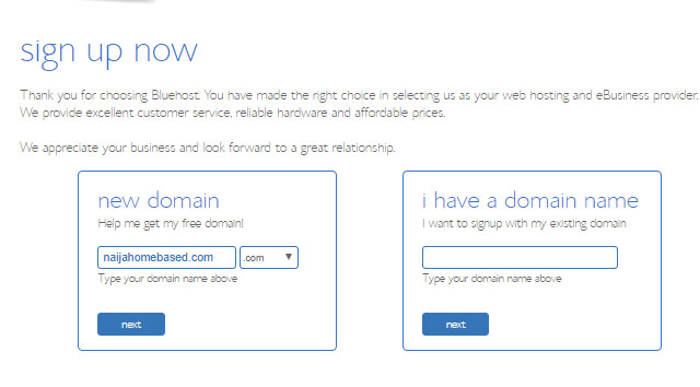 free domain bonus for starting a blog with bluehost