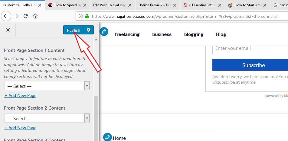 how to customize newly created blog