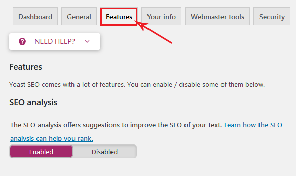 features menu Yoast SEO