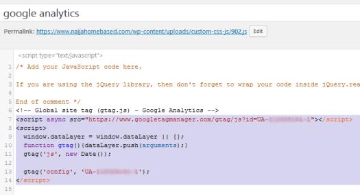 analytics code in custom js