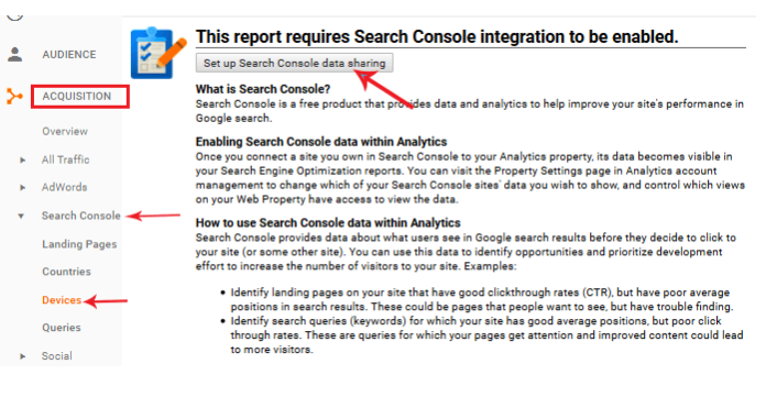 search console data sharing on analytics
