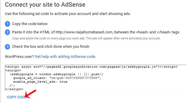 AdSense verification code