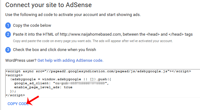 AdSense verification code