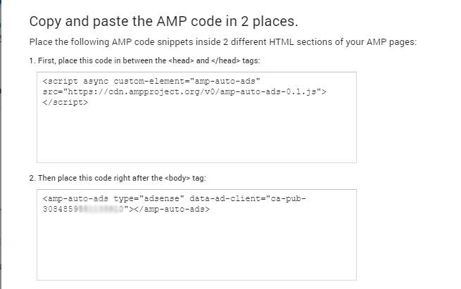 Copy and paste the AMP code in 2 places.