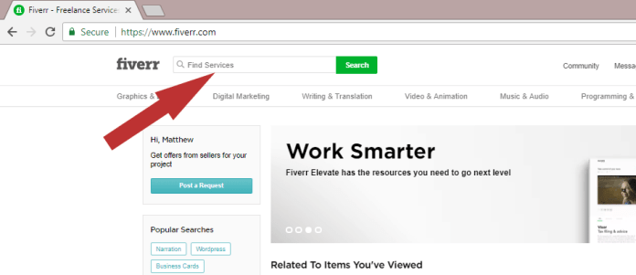 Search for services on Fiverr