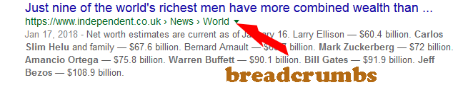 a website with breadcrumbs in Google Search