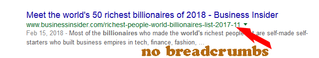 A website without breadcrumbs in Google