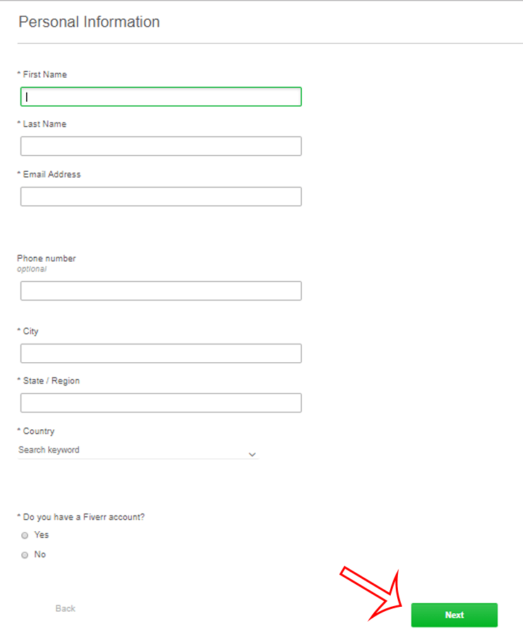 Fill personal information form