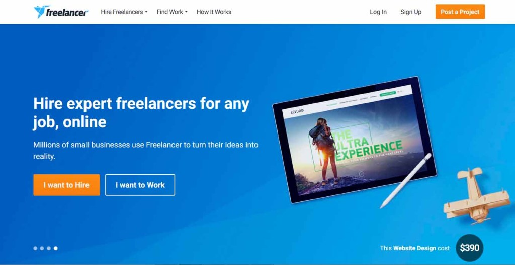 Freelancer homepage view