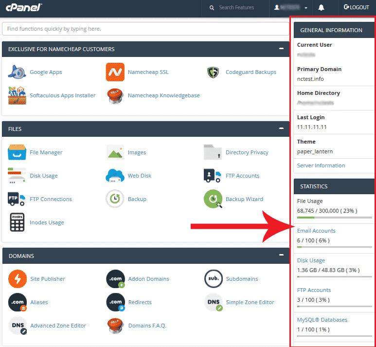 Full access to cPanel Namecheap