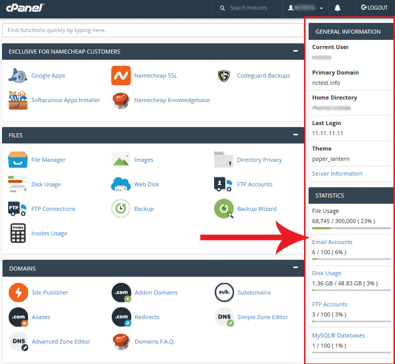 Full access to cPanel Namecheap