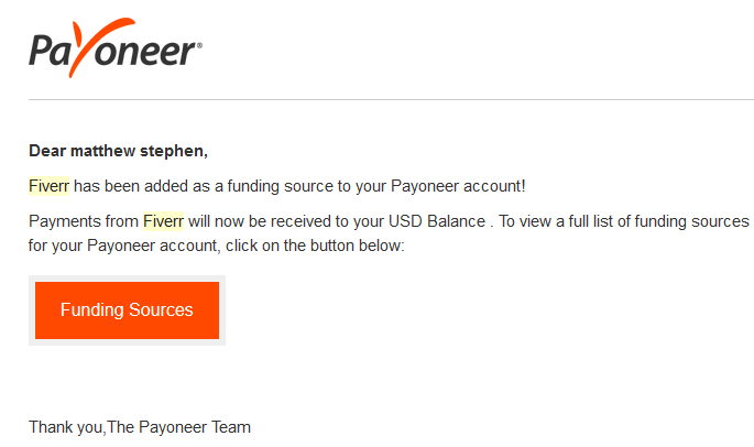 Message from Payoneer confirming payoneer successfully linked with Fiverr