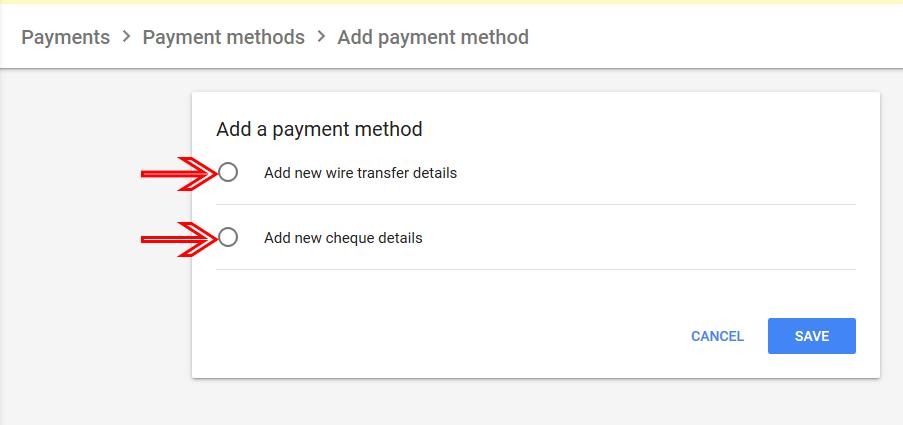 AdSense payment options