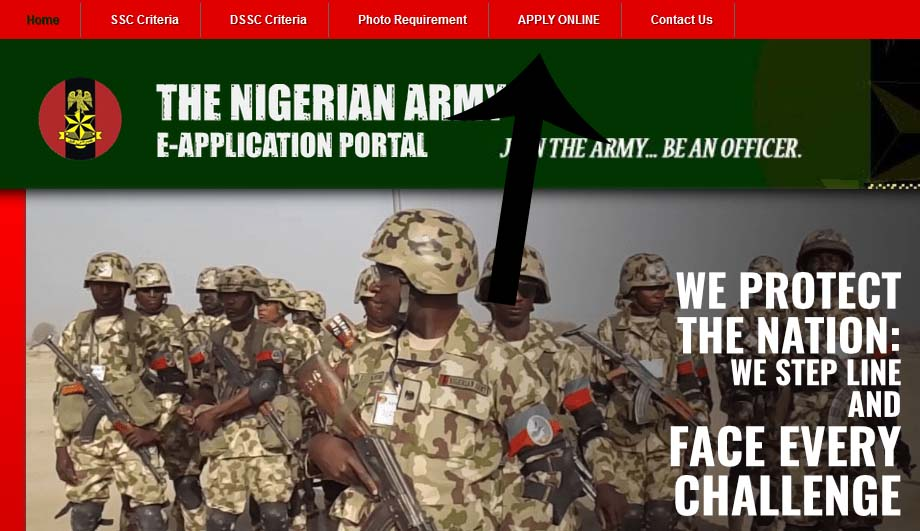 Nigerian Army direct short service commisions application portal, click on apply online.