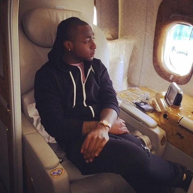 Davido in his private jet