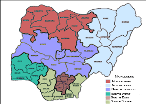 map showing geopolitical zones in Nigeria