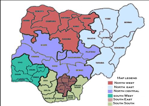 map showing geopolitical zones in Nigeria