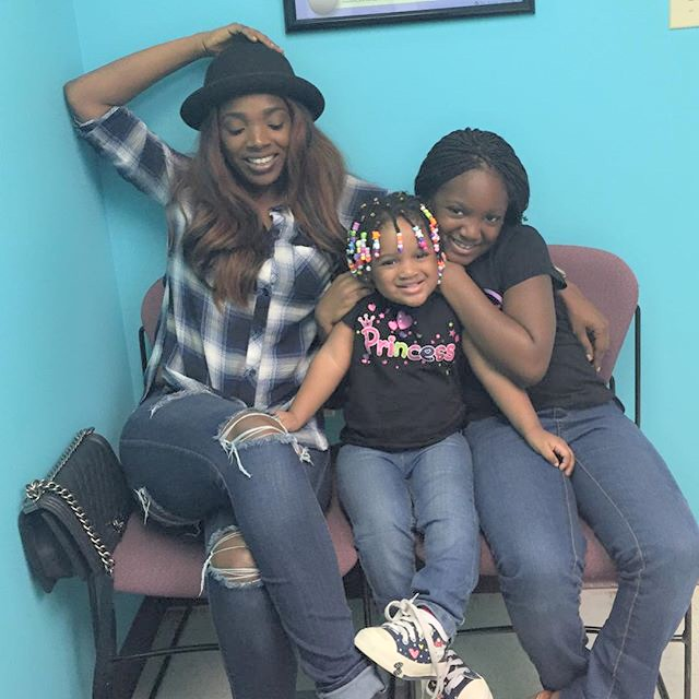 Annie Idibia and her 2 daughters for 2baba