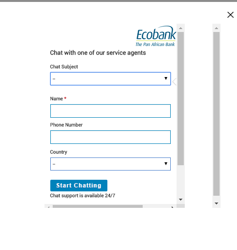 Fill chat form to chat with an Ecobank customer care online