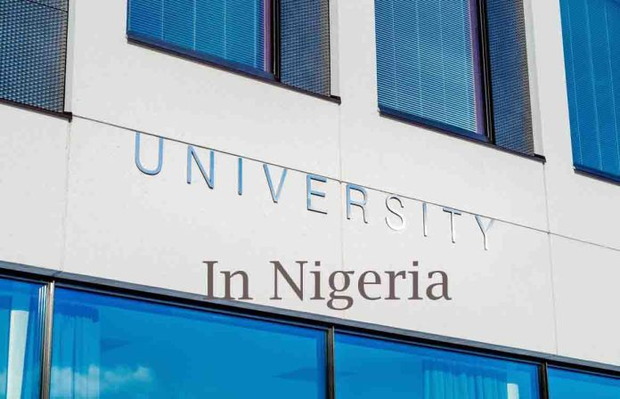 Building with text: universities in Nigeria