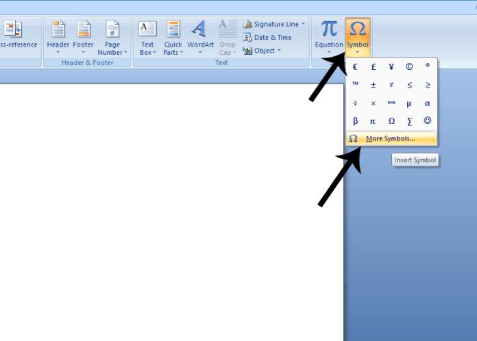 Symbol & more symbols option on MS Word